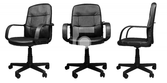 3 different angels of Office Leather Chair isolated on white bac