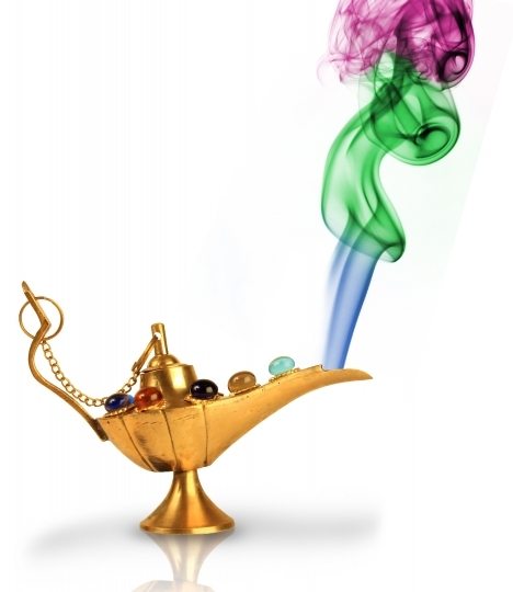 Aladdin's magic lamp with pearls and colorful smoke isolated on