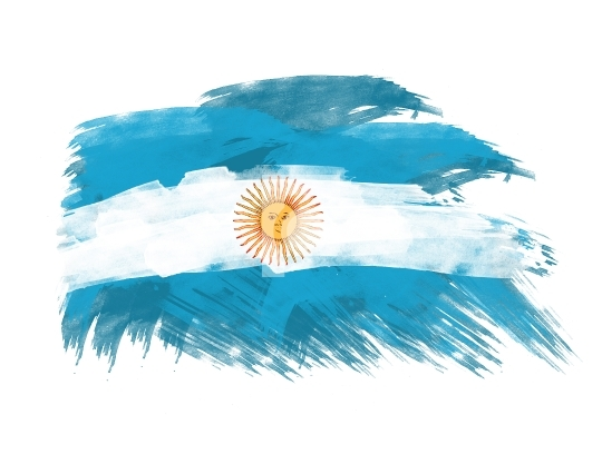 argentina flag in brush strokes
