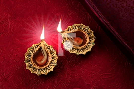 Beautiful Golden Diwali Diya Lamp Lights
