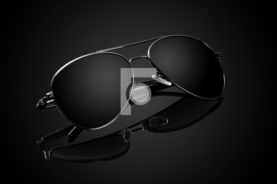 Black Aviator Sunglasses on Black Background