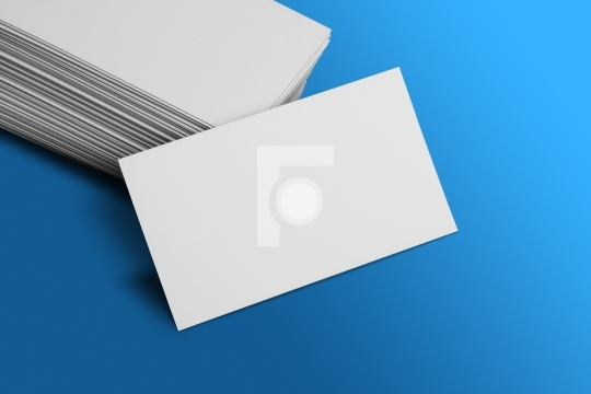 Blank Business Card Mockup on Blue Background