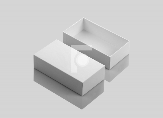 Blank White Open Product Box on Gray Background