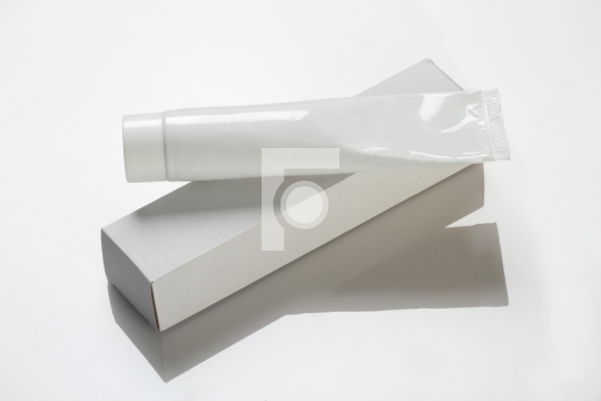 Blank White Toothpaste / Medicinal Cream Tube & Box Mockup