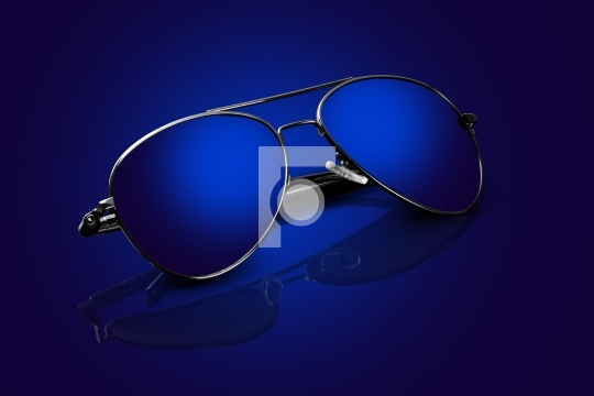 Blue Aviator Sunglasses with Reflections