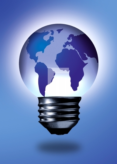 bulb in shape of the world, idea concept