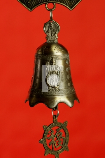 Chinese bell with buddha
