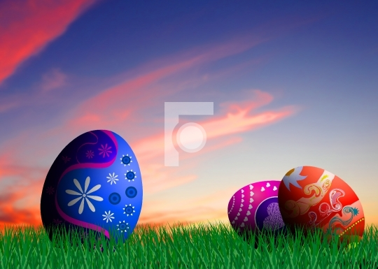 Colorful Easter eggs illustration