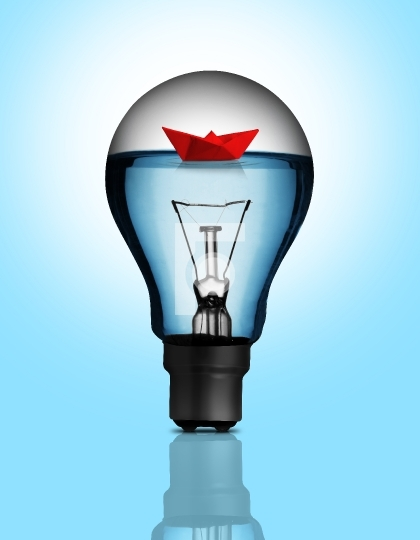 Electric Bulb with Water and Origami Paper Boat
