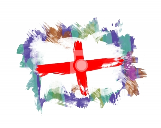 England Flag painted with other colors in Background
