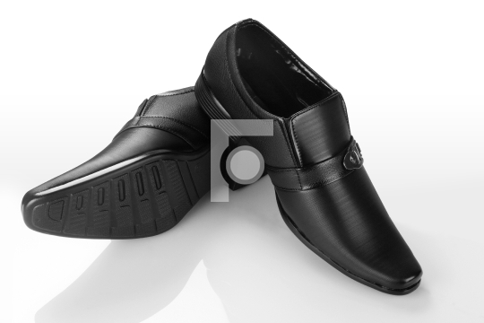 Formal Men's Black Leather Shoe on White Background