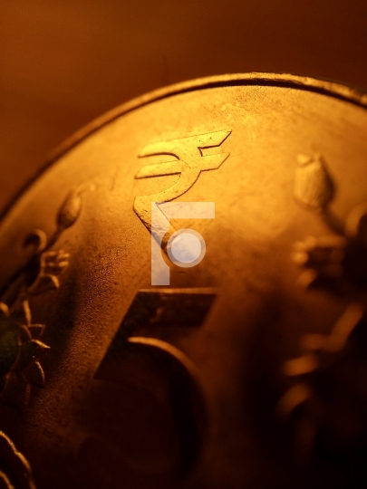 Free Photo - Golden Indian Rupee 5 Coin Macro Photography