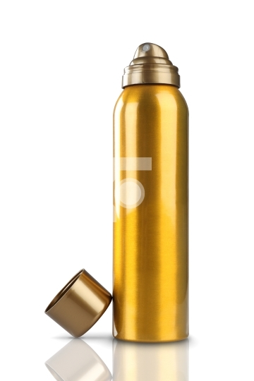 Gold Deodorant Perfume Can or Bottle Stock Photo