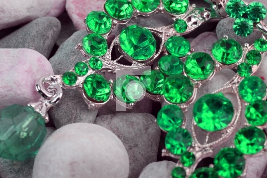 Green colored precious stone jewellery