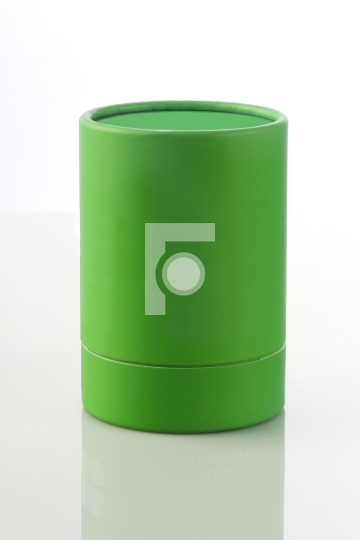 Green Cylinder Card Board Box for Packaging Mockups