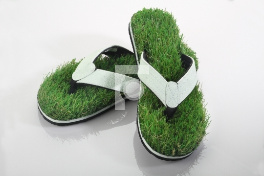 Green Grass Slipper / Flip Flops / Footwear Concept