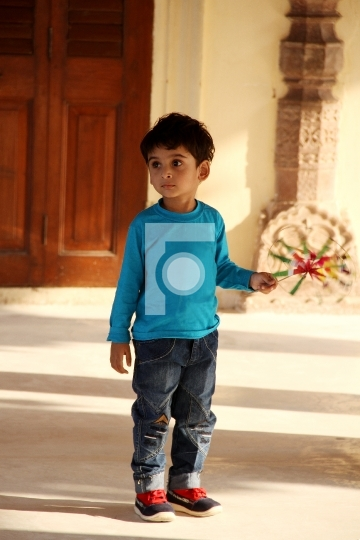 Indian Boy Kid Toddler Outdoors Jaipur Stock Photo