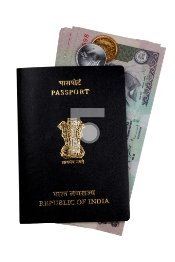 Indian Currency Rupee Notes, Coins and Passport
