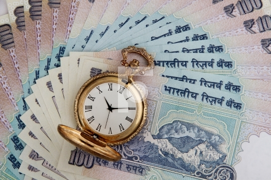 Indian Currency Rupees with Antique Watch