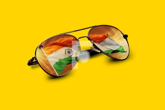 Indian Flag Reflected on Aviator Sunglasses