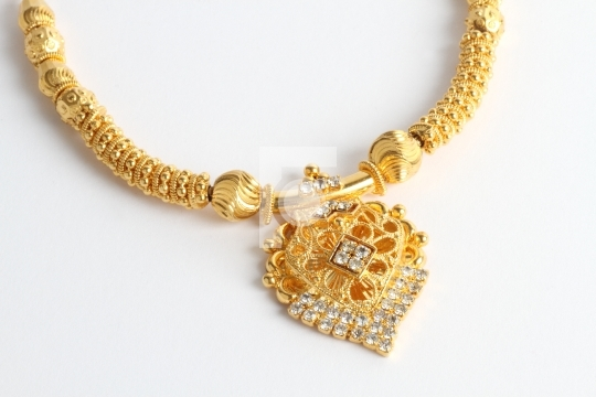 Indian Gold Jewellery Mangalsutra Necklace on White Background