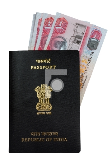 Indian Passport and UAE Currency Notes Dirhams
