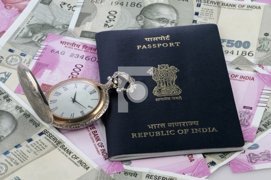 Indian Passport, New Rupee Currency and Antique Watch