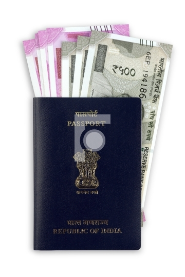 Indian Passport with New Rupee Currency Notes
