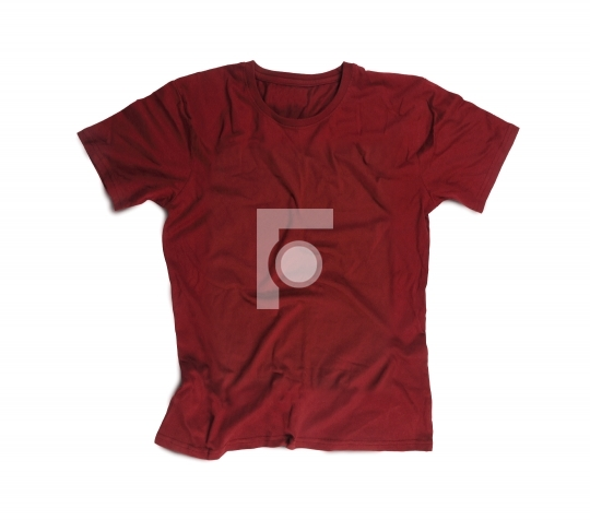 Maroon Blank T-shirt for Mockup Isolated on White