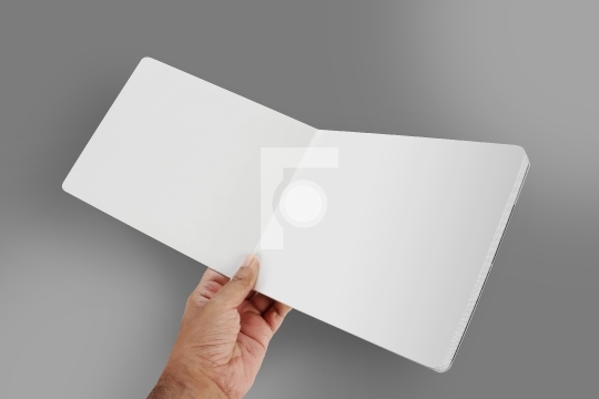 Open Blank Book / Brochure Mockup in a Hand