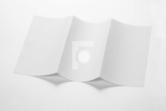 Open White Blank Folded Trifold DL Flyer for Mock up
