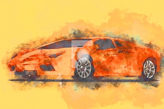 Orange Sports Car Digital Painting Stock Photo