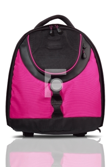 Pink and black colored backpack