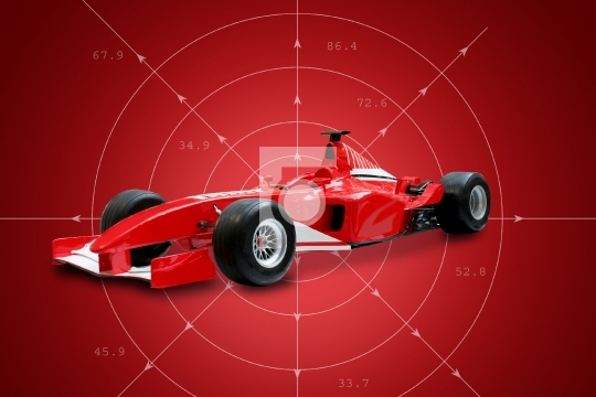 Red Formula One Car in red background