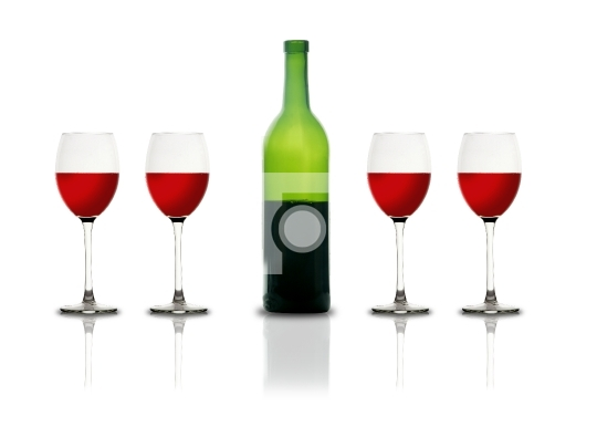 Red Wine glasses and bottle