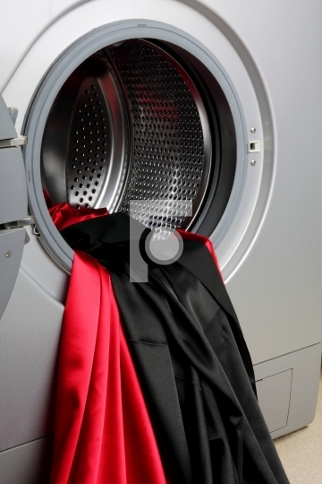 Smooth satin fabric in a washing machine