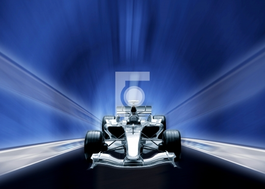 Speeding Formula one car Illustration Stock Photo