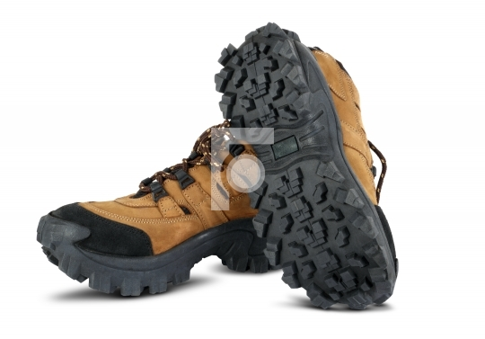 Tough hiking shoes in the white background
