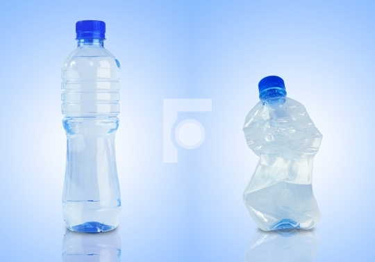 Two bottles - one fill with water, other empty and crushed