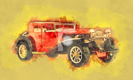 Vintage Retro Classic Old Car Water Color Painting