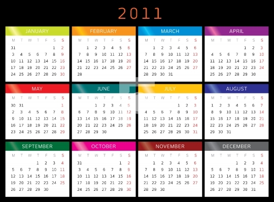 2011 Calender - High resolution printable EPS Vector format