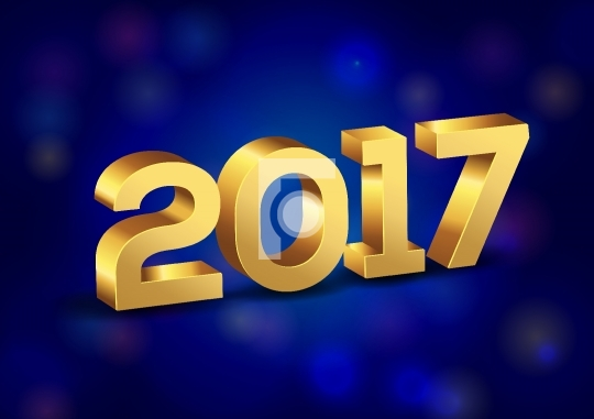 3D Happy New Year 2017 Gold Vector Numbers