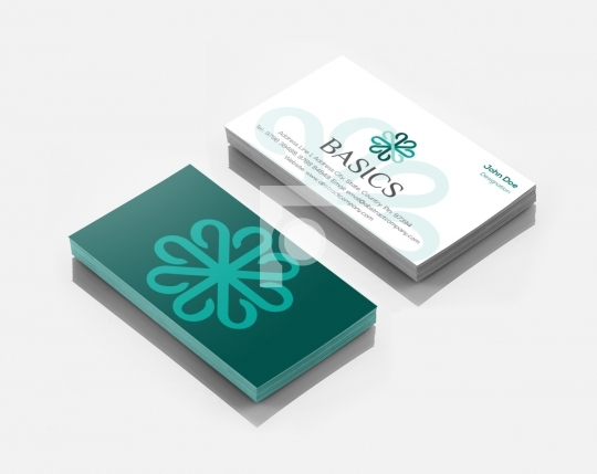 B Letter Basics Logo Design & Business Card Template for Startup