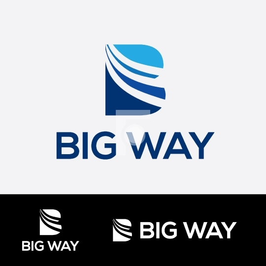 B Letter Logo - Big Way Routes Travel Company Logo Template