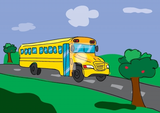 back to school bus on the road with greenery surroundings