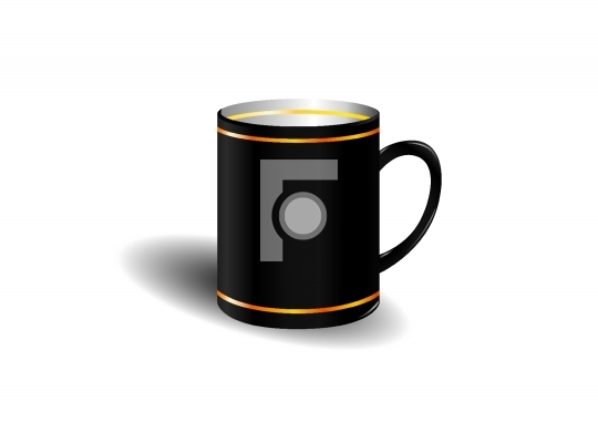black coffee cup with golden lines