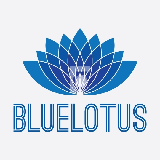 Blue Lotus Flower Design - Logo Vector Royalty Free License