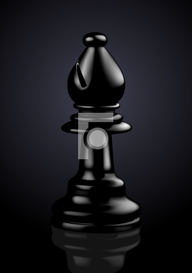 Chess Black Bishop - Vector Illustration