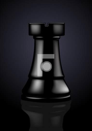 Chess Black Rook - Vector Illustration