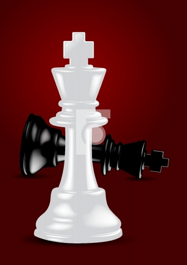 Chess White King - Winner - Vector Illustration